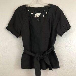 LOFT Black Linen Blend Button Up Lined Top